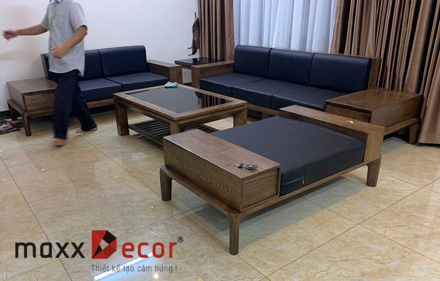 Mẫu sofa gỗ tần bì hiện đại