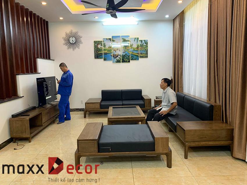 sofa gỗ phòng khách cao cấp