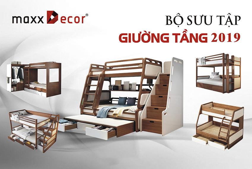 Giường tầng thông minh gỗ tự nhiên