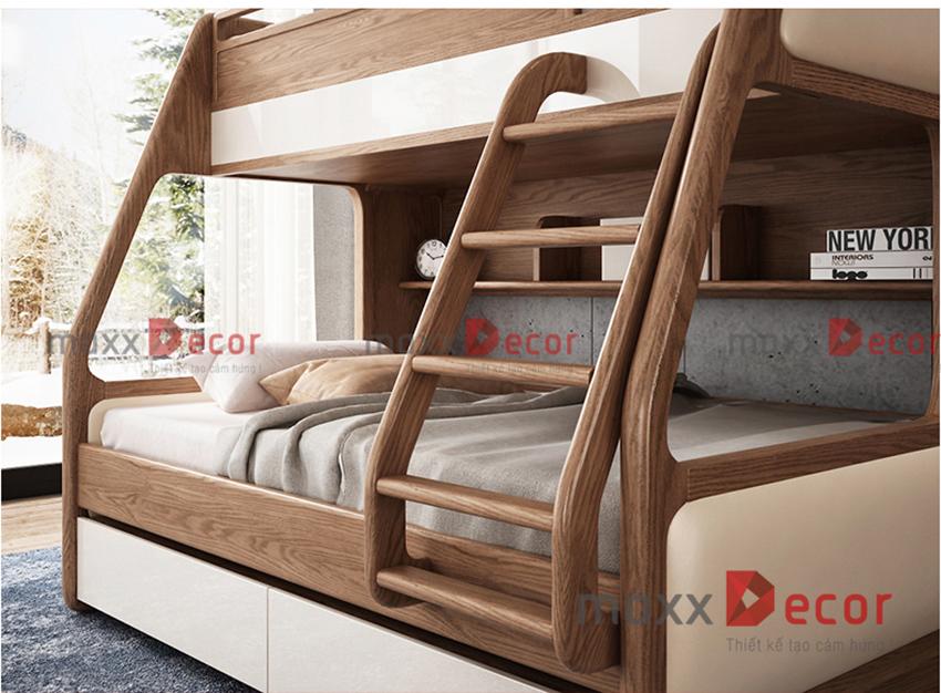 Mẫu giường tầng đẹp gỗ tự nhiên