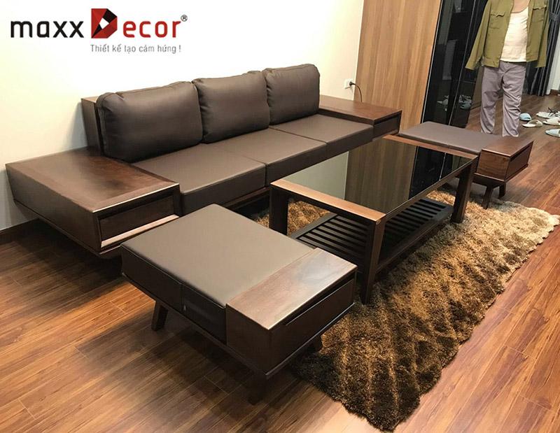 Trọn bộ nội thất phòng khách gỗ tự nhiên hiện đại