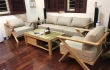 Bộ sofa gỗ kết hợp kệ tivi gỗ tự nhiên đẹp sang phòng khách